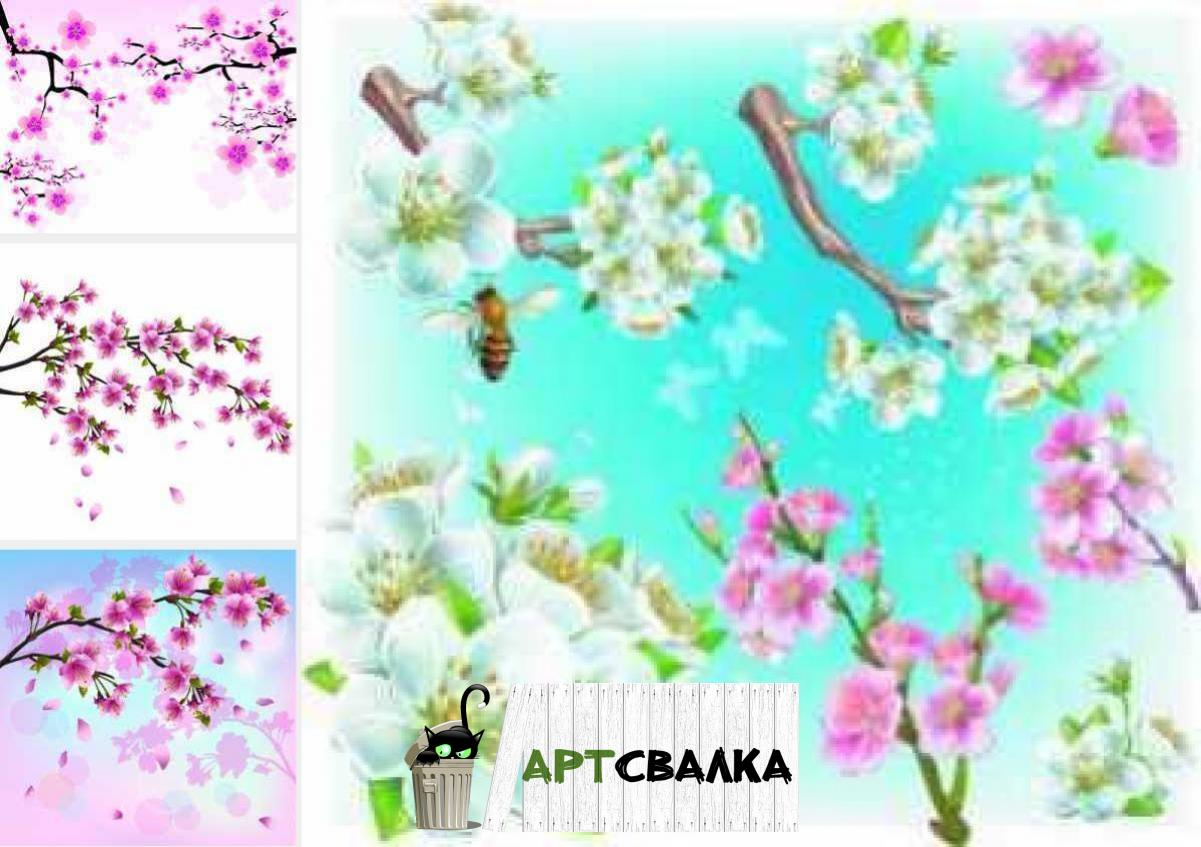 Ветки сакуры в векторе | Branches of cherry blossoms in the vector